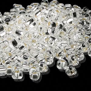 seed bead, miyuki, glass, silver-lined translucent clear, (tr1101), #5 triangle. sold per 25-gram pkg.