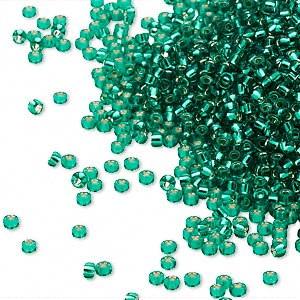 seed bead, miyuki, glass, silver-lined translucent green, (rr17), #15 rocaille. sold per 250-gram pkg.
