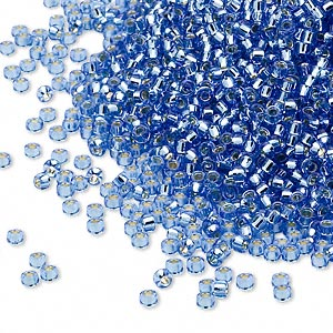 seed bead, miyuki, glass, silver-lined translucent light blue, (rr19), #15 rocaille. sold per 35-gram pkg.