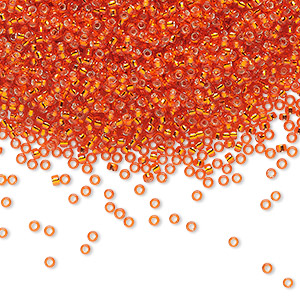 seed bead, miyuki, glass, silver-lined translucent orange, (rr9), #15 rocaille. sold per 35-gram pkg.