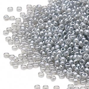 seed bead, miyuki, glass, translucent ceylon light grey, (rr526), #15 rocaille. sold per 35-gram pkg.