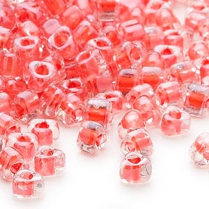 seed bead, miyuki, glass, transparent clear color-lined coral, (tr1111l), #5 triangle. sold per 25-gram pkg.