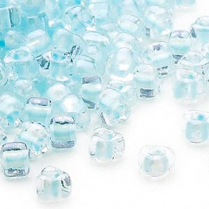 seed bead, miyuki, glass, transparent clear color-lined ice blue, (tr1112), #5 triangle. sold per 250-gram pkg.