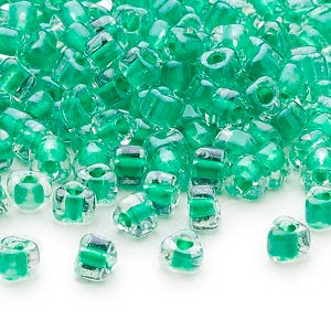 seed bead, miyuki, glass, transparent clear color-lined kelly green, (tr1130), #5 triangle. sold per 25-gram pkg.