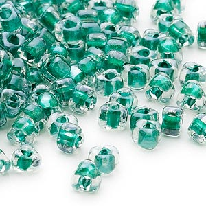seed bead, miyuki, glass, transparent clear color-lined teal, (tr1117), #5 triangle. sold per 25-gram pkg.