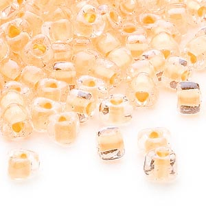 seed bead, miyuki, glass, transparent clear color-lined yellow, (tr1121), #5 triangle. sold per 25-gram pkg.