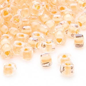 seed bead, miyuki, glass, transparent clear color-lined yellow, (tr1121), #5 triangle. sold per 250-gram pkg.