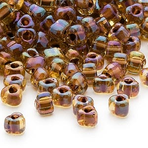 seed bead, miyuki, glass, transparent dark amber yellow color-lined purple, (tr1162), #5 triangle. sold per 25-gram pkg.