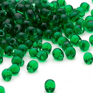 seed bead, miyuki, glass, transparent green, (dp146), 4x3.4mm fringe. sold per 250-gram pkg.