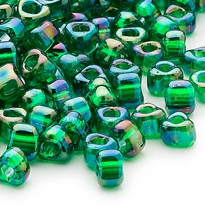 seed bead, miyuki, glass, transparent iris green, (tr1154), #5 triangle. sold per 25-gram pkg.