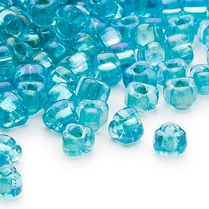 seed bead, miyuki, glass, transparent light blue color-lined teal, (tr1822), #5 triangle. sold per 25-gram pkg.