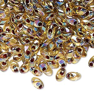 seed bead, miyuki, glass, transparent light topaz color-lined rainbow garnet, (lma2161), 7x4mm long magatama. sold per 250-gram pkg.