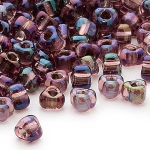 seed bead, miyuki, glass, transparent lilac color-lined grey, (tr1836), #5 triangle. sold per 25-gram pkg.