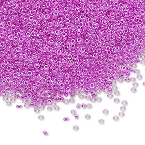 seed bead, miyuki, glass, transparent luminous color-lined neon purple, (rr4303), #15 rocaille. sold per 35-gram pkg.