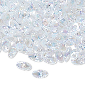 seed bead, miyuki, glass, transparent luster rainbow clear, (lma250), 7x4mm long magatama. sold per 50-gram pkg.