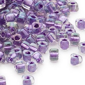 seed bead, miyuki, glass, transparent purple color-lined dark lilac, (tr1138), #5 triangle. sold per 25-gram pkg.