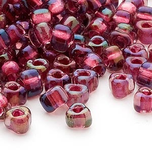 seed bead, miyuki, glass, transparent purple color-lined rose, (tr1833), #5 triangle. sold per 25-gram pkg.