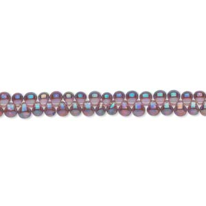 seed bead, miyuki, glass, transparent rainbow lavender, (dp256), 3.3x2.8mm mini fringe. sold per 10-gram pkg.