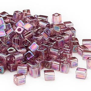 seed bead, miyuki, glass, transparent rainbow lilac, (sb256), 3.5-3.7mm square. sold per 25-gram pkg.
