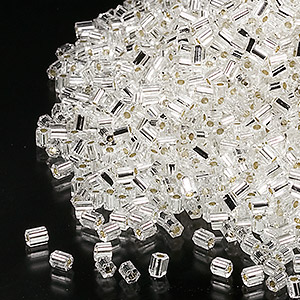 seed bead, miyuki, glass, transparent silver, (hex-660), #11 hex 2-cut. sold per 7.5-gram pkg.