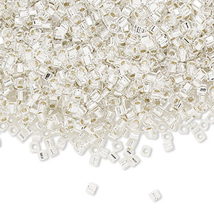 seed bead, miyuki, glass, transparent silver-lined clear, (sb1), 1.8mm square. sold per 25-gram pkg.
