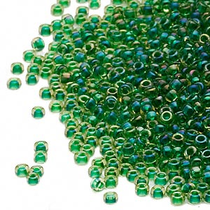 seed bead, miyuki, glass, transparent yellow color-lined green, (rr331), #15 rocaille. sold per 250-gram pkg.