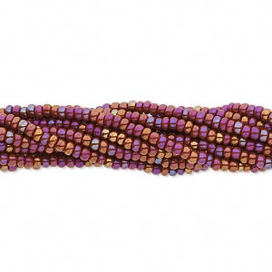 seed bead, preciosa, czech glass, opaque rainbow brown, #11 round. sold per hank.