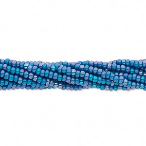 seed bead, preciosa, czech glass, opaque rainbow patriot blue, #11 round. sold per hank.