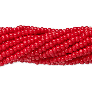 seed bead, preciosa, czech glass, opaque red, #8 round. sold per hank.