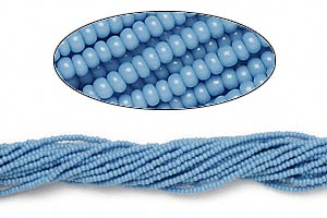seed bead, preciosa, czech glass, opaque sea blue, #11 round. sold per 1/2 kilogram pkg.