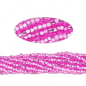 seed bead, preciosa, czech glass, silver-lined translucent dark pink, #11 round with square hole. sold per hank.