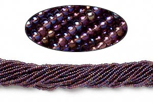 seed bead, preciosa, czech glass, transparent rainbow purple, #11 round. sold per hank.