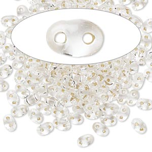 seed bead, preciosa twin™, czech glass, silver-lined translucent clear, 5x2.5mm oval with 2 holes. sold per 10-gram pkg.