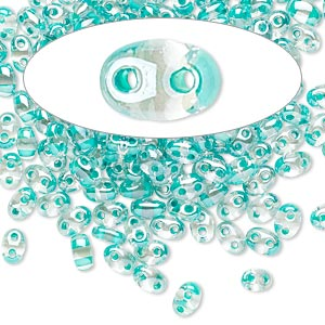 seed bead, preciosa twin™, czech glass, transparent green-lined clear terra, 5x2.5mm oval with 2 holes. sold per 10-gram pkg.