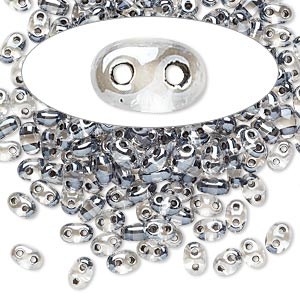 seed bead, preciosa twin™, czech glass, transparent grey-lined clear terra, 5x2.5mm oval with 2 holes. sold per 10-gram pkg.