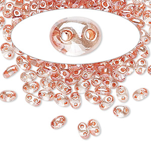 seed bead, preciosa twin™, czech glass, transparent peach-lined clear terra, 5x2.5mm oval with 2 holes. sold per 50-gram pkg.