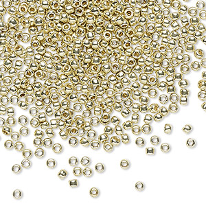 seed bead, toho beads, glass, permafinish opaque galvanized yellow gold, (tr-11-pf559), #11 round. sold per 7.5-gram pkg.