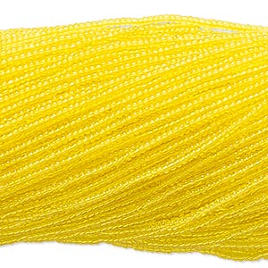 seed bead, vintage czech glass, transparent yellow, #11 round. sold per 1/2 kilogram pkg.
