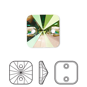 sew-on bead, swarovski crystal rhinestone, crystal passions, crystal luminous green, foil back, 14mm faceted rivoli square (3201). sold per pkg of 2.