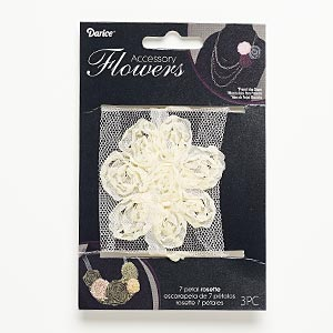 sew-on component, fabric, ivory, 2-1/2 x 2-1/2 to 2-3/4 x 2-3/4 inch flower. sold per pkg of 3.