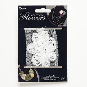 sew-on component, fabric, white, 2-1/2 x 2-1/2 to 2-3/4 x 2-3/4 inch flower. sold per pkg of 3.