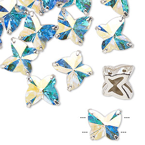 sew-on component, preciosa czech crystal and silver-plated brass, transparent crystal ab, 10mm single-sided faceted butterfly with 2 holes. sold per pkg of 12.