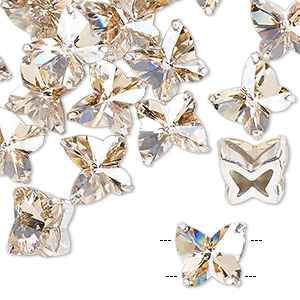 sew-on component, preciosa czech crystal and silver-plated brass, transparent honey, 10mm single-sided faceted butterfly with 2 holes. sold per pkg of 12.