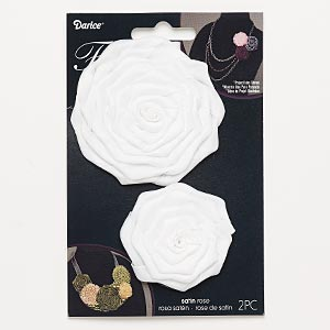 sew-on component, satin, white, 1-3/4 x 1-3/4 inch and 3x3 to 3-1/4 x 3-1/4 inch rose. sold per pkg of 2.