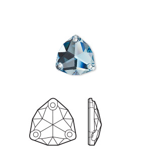 sew-on component, swarovski crystal rhinestone, aquamarine, foil back, 20mm faceted trilliant (3272). sold per pkg of 15.