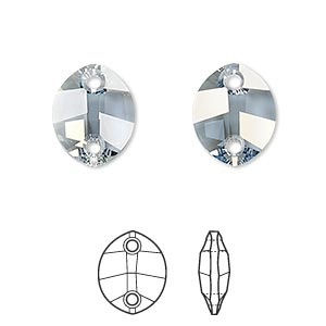 sew-on component, swarovski crystal rhinestone, crystal passions, crystal blue shade, foil back, 14x11mm faceted pure leaf with 2 holes (3224). sold per pkg of 12.