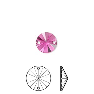 sew-on component, swarovski crystal rhinestone, crystal passions, fuchsia half matte, foil back, 10mm faceted rivoli flat back (3200/g). sold per pkg of 6.