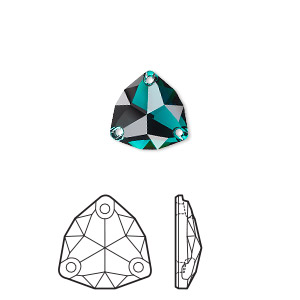 sew-on component, swarovski crystal rhinestone, emerald, foil back, 20mm faceted trilliant (3272). sold per pkg of 15.