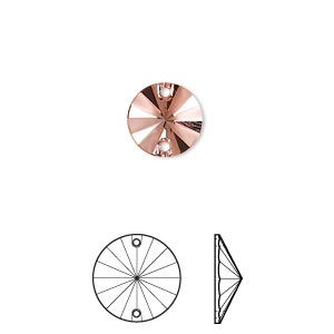 sew-on component, swarovski crystal rhinestone, rose peach p half matte, foil back, 10mm faceted rivoli flat back (3200/g). sold per pkg of 72.