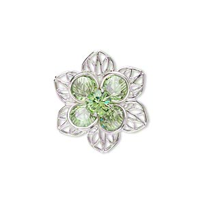 sew-on component, swarovski crystals and rhodium-finished brass, peridot, 22mm flower. sold individually.